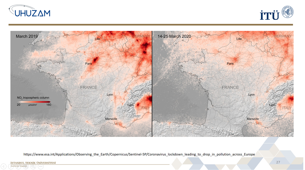 İTÜ UHUZAM Yeni Koronavirüsün Etkilerini Uydu Görüntüleriyle Paylaştı