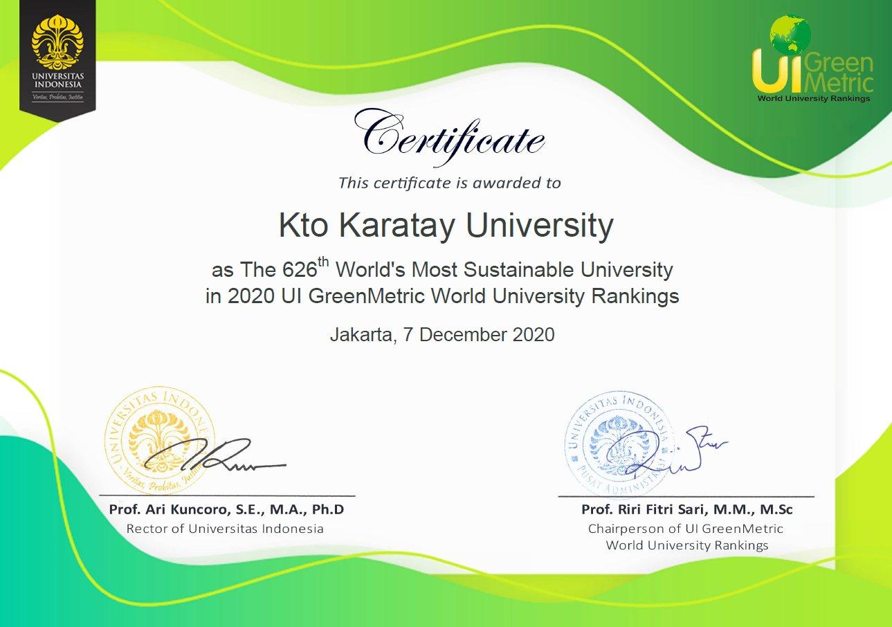 KTO Karatay Üniversitesi GreenMetric Dünya Sıralamasında