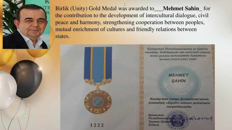 ÇOMÜ'ye Bir Madalya da Kazakistan'dan